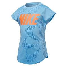 Nike Girls Dri-FIT Pinwheel Modern Tee Blue 4, Blue, rebel_hi-res