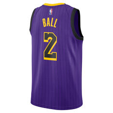 Nike Los Angeles Lakers Lonzo Ball 2019 Mens City Jersey Purple S, Purple, rebel_hi-res