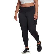 adidas Womens Believe This 3 Stripes Mesh Long Tights Plus, Black, rebel_hi-res