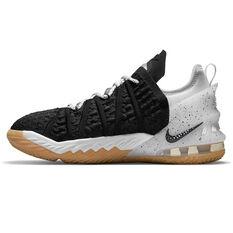 Nike LeBron 18 Black Gum Kids Basketball Shoes Black/White US 4, Black/White, rebel_hi-res