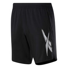 Reebok Mens Workout Ready Woven Graphic Shorts Black S, Black, rebel_hi-res