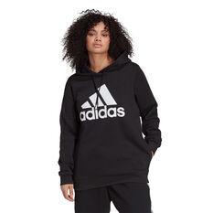 adidas Womens Essentials Logo Fleece Hoodie Plus Black 1X, Black, rebel_hi-res