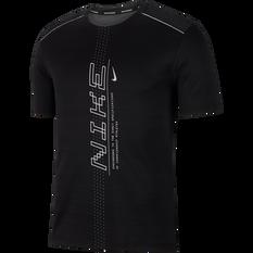 Nike Mens Dri-FIT Miler Short Sleeve Running Top Black / Grey S, Black / Grey, rebel_hi-res