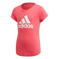 adidas Girls Badge of Sport Tee Pink / White 6, Pink / White, rebel_hi-res