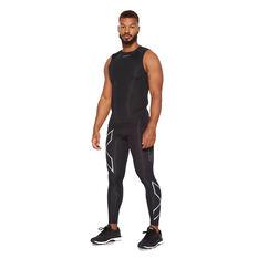 2XU Mens Short Sleeve Compression Top, Black, rebel_hi-res