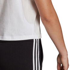 adidas Womens Essentials Loose 3-Stripes Cropped Tee, White, rebel_hi-res