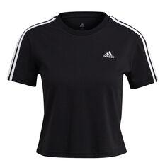 adidas Womens Essentials Loose 3-Stripes Cropped Tee Black XS, Black, rebel_hi-res