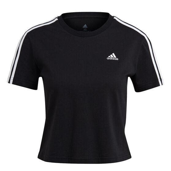 adidas Womens Essentials Loose 3-Stripes Cropped Tee, Black, rebel_hi-res