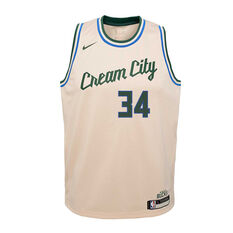 Nike Milwaukee Bucks Giannis Antetokounmpo 2020 Youth City Edition Jersey Beige S, Beige, rebel_hi-res