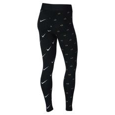 Nike Womens Sportswear Metallic Tights Black XS, Black, rebel_hi-res