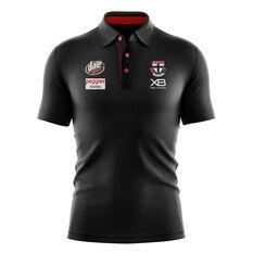 St Kilda Saints 2019 Mens Media Polo Black / Red S, Black / Red, rebel_hi-res