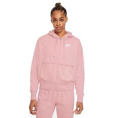Nike Air Womens Air Full-Zip Fleece Hoodie Pink XS, Pink, rebel_hi-res