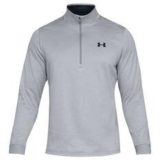 Under Armour Mens Armour Fleece Half Zip Longsleeve Shirt Grey / Black XS, Grey / Black, rebel_hi-res