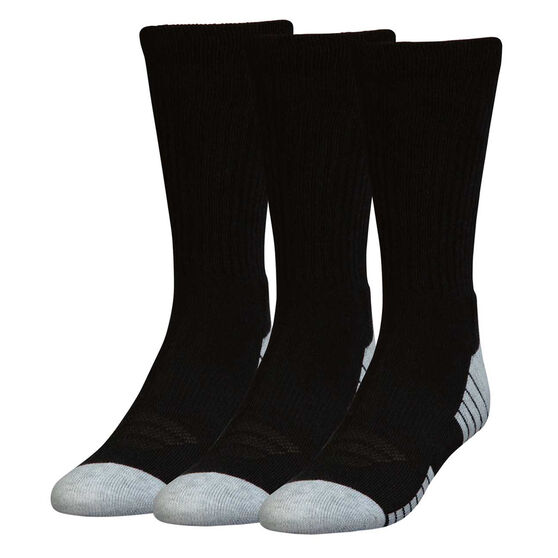 Under Armour HeatGear Crew Socks 3 Pack, Black / White, rebel_hi-res