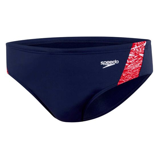 Speedo Mens Boom Brief, Navy / Red, rebel_hi-res