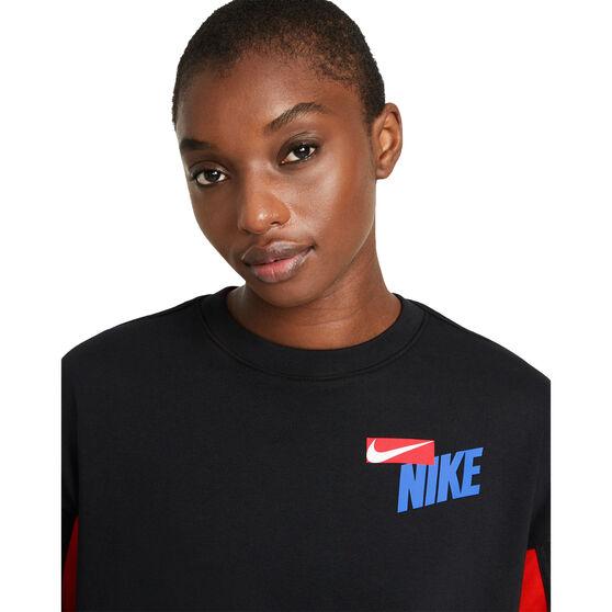 Nike Womens Dri-FIT Get Fit Fleece Graphic Sweater, Black, rebel_hi-res
