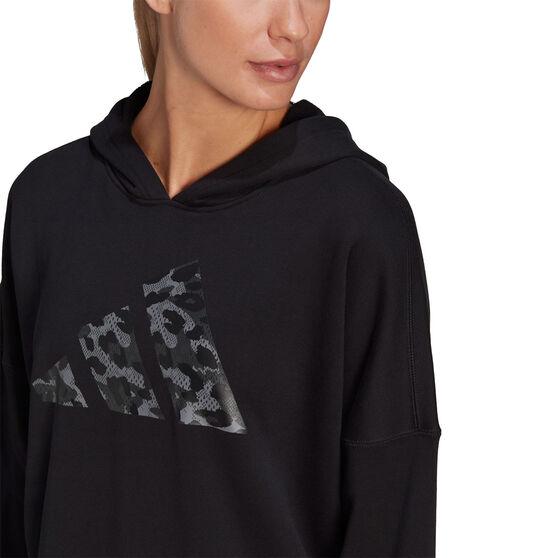 adidas Womens Sportswear Leopard-Print Oversize Hoodie, Black, rebel_hi-res