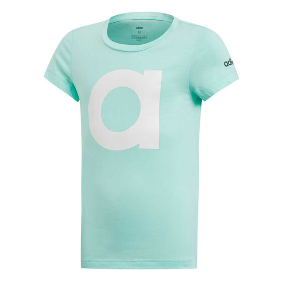 adidas Girls Essentials Branded Tee Mint / White 6, Mint / White, rebel_hi-res