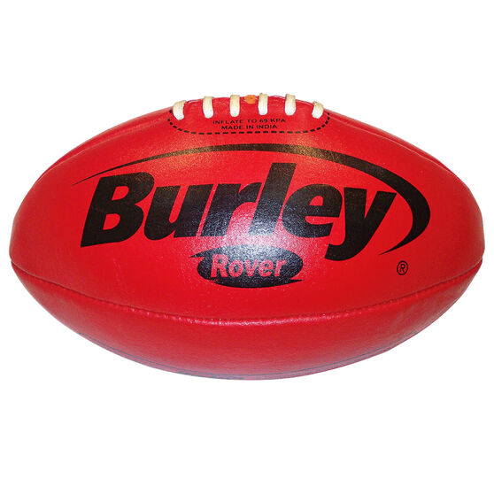Burley Rover Leather Australian Rules Ball, Red, rebel_hi-res