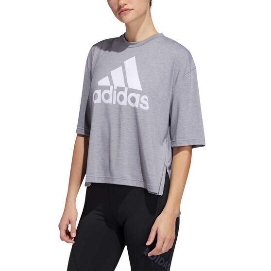 adidas Womens Must Haves Badge of Sport Graphic Tee, Grey, rebel_hi-res