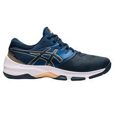 Asics GEL Netburner 20 D Womens Netball Shoes Navy/Gold US 6.5, Navy/Gold, rebel_hi-res