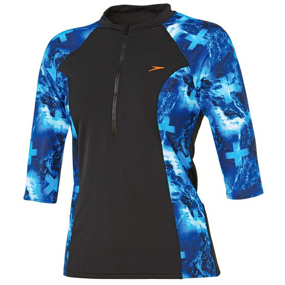 Speedo Womens Half Zip 3 / 4 Sun Top, , rebel_hi-res