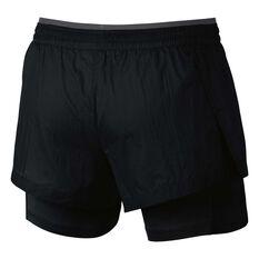 Nike Womens Elevate 2 in 1 Shorts Black / Grey XS Adult, Black / Grey, rebel_hi-res