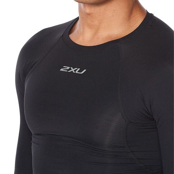2XU Mens Long Sleeve Compression Top, Black, rebel_hi-res