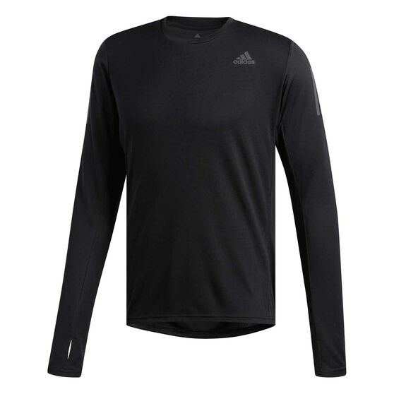 adidas Mens Own The Run Long Sleeve Tee, Black, rebel_hi-res