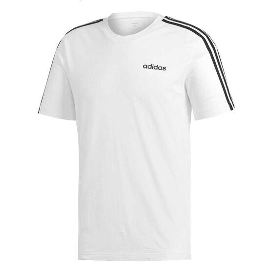 adidas Mens Essentials 3 Stripes Tee, White, rebel_hi-res