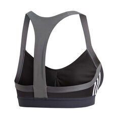 adidas Womens All Me 3-Stripes Sports Bra Black XS, Black, rebel_hi-res