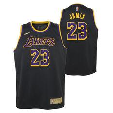 Nike Los Angeles Lakers LeBron James 2020/21 Kids Earned Jersey, Black, rebel_hi-res