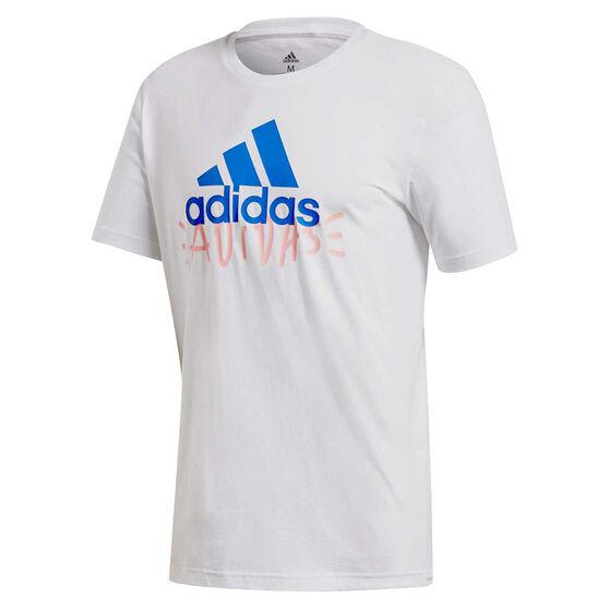 adidas Mens Doodle Basic Badge Of Sport Tee, White, rebel_hi-res