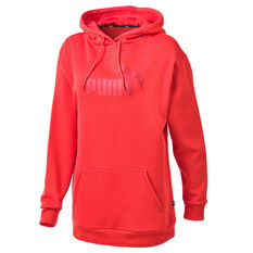 Puma Womens Essentials Logo Elongated Hoodie Red XS, Red, rebel_hi-res