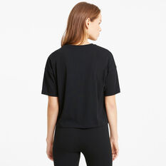 Puma Womens Essentials Cropped Logo Tee Black XS, Black, rebel_hi-res