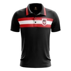 St George Illawarra Dragons 2019 Mens Advantage Polo Black S, Black, rebel_hi-res