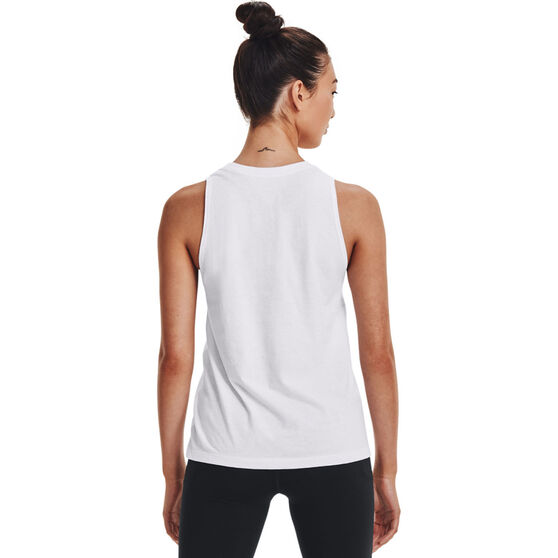 Under Armour Womens Graphic Muscle Tank, White, rebel_hi-res
