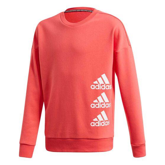 adidas Girls Must Haves Sweatshirt, Pink / White, rebel_hi-res