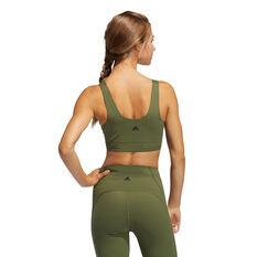 adidas Womens Cozy Yoga Sports Bra, Khaki, rebel_hi-res