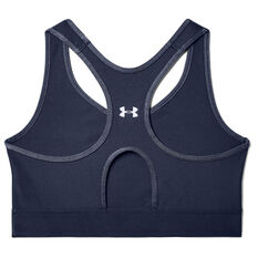 Under Armour Womens Armour Mid Keyhole Graphic Sports Bra, Navy, rebel_hi-res
