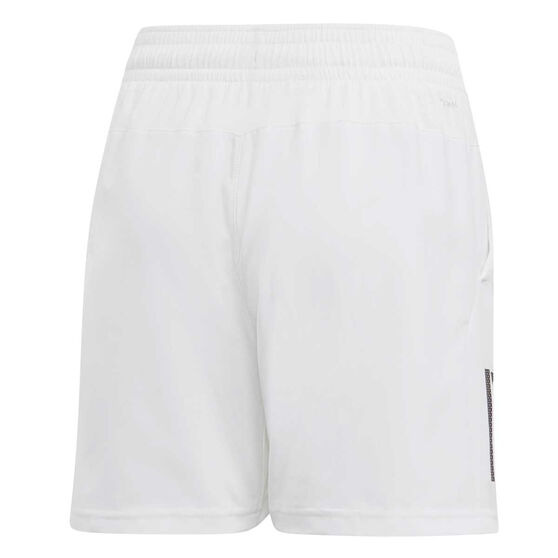 adidas Boys 3 Stripes Tennis Shorts, White, rebel_hi-res