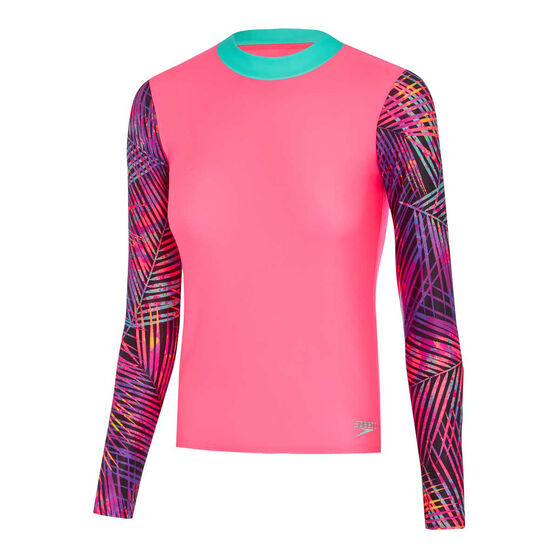 Speedo Girls Leisure Palmz Long Sleeve Rash Vest, Pink, rebel_hi-res