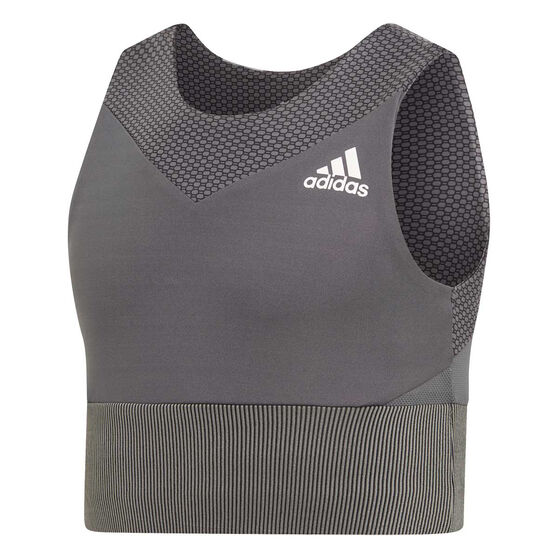 adidas Girls Bra Top Grey 14, Grey, rebel_hi-res