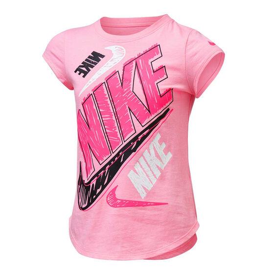 Nike Girls Bold Scribble Tee Pink 6, Pink, rebel_hi-res