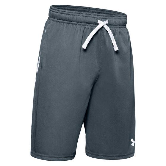 Under Armour Boys Prototype Wordmark Shorts, Grey / White, rebel_hi-res