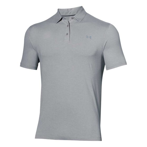 Under Armour Mens Charged Cotton Scramble Polo Shirt Grey S, Grey, rebel_hi-res