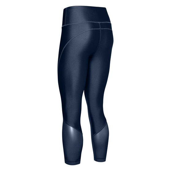 Under Armour Womens HeatGear Armour Mesh Ankle Crop Tights Blue XS, Blue, rebel_hi-res