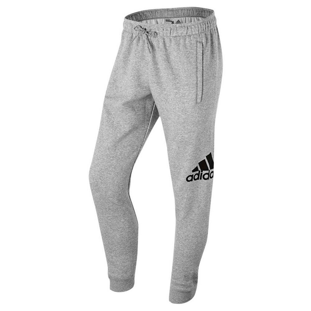 a9e4ab38bbc2 adidas Mens Sport Essentials Logo Cuffed Fleece Track Pants Grey   Black XL  Adult