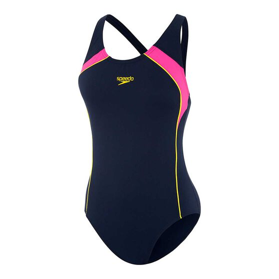 Speedo Womens Image Uplift One Piece Swimsuit, Navy / Pink, rebel_hi-res
