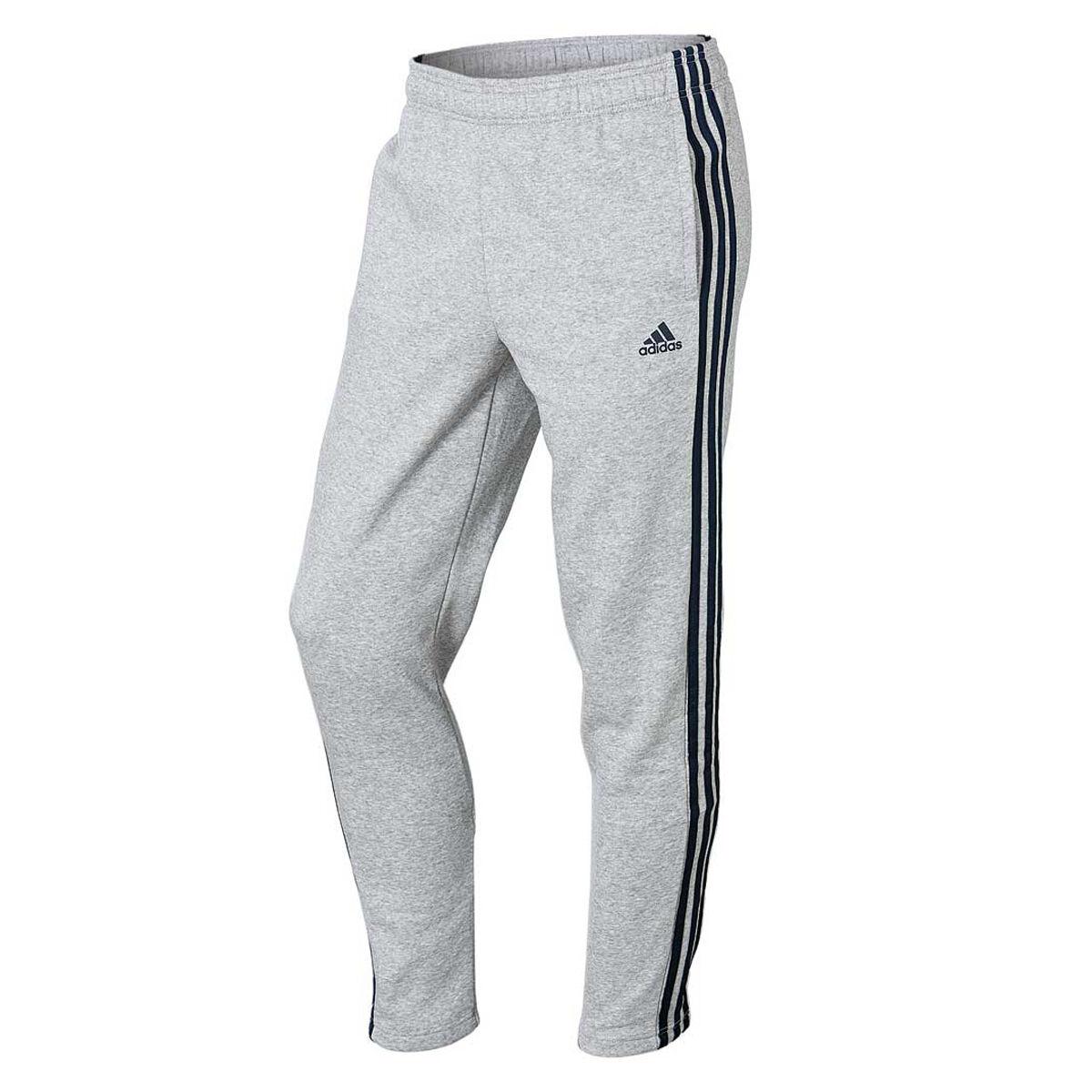 adidas Mens Essentials 3 Stripes Tapered Pants Grey Navy XXL